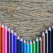 Colour pencils on wood background — Stock Photo