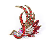 Retro brooch with red gems isolated — 图库照片
