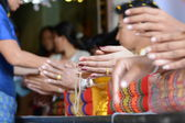 Hand bridal Thailand wedding ceremony — Stock Photo