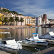 View of Bosa and fort from the Temo River, Sardinia, Italy — Stock Photo