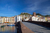 View of Bosa and fort from the bridge over Temo River, Sardinia, Italy — Stockfoto