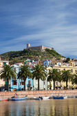 View of Bosa and fort from the Temo River, Sardinia, Italy — Foto de Stock