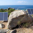 Solar panels on the coast — Stock Photo