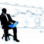 Businessman analysing market data — Stock Vector