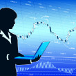 Businesswoman analysing market data — Stock Vector