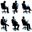Businessmen in chairs — Stock Vector