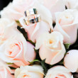 Wedding rings and roses — Stock Photo #24359121
