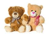 Beyaz zemin üzerinde oyuncak ayılar — Stok fotoğraf
