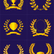 Royalty-Free Stock Векторное изображение: Laurel wreaths with ribbons and shields.