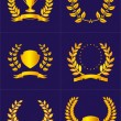 Royalty-Free Stock ベクターイメージ: Laurel wreaths with ribbons and shields.