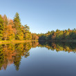 Panorama of a forest lake in fall — Stock Photo #32449671