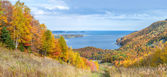 Panoramic view of Cabot Trail in the fall — Stock Photo