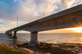 Confederation Bridge at sunset — Stock Photo