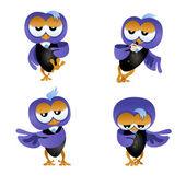 Owl businessman poses — Stock Vector