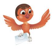 Bird carrying a letter — Stockvektor
