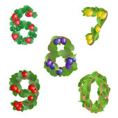 Numbers 6-0 made from different plants with fruits — Stock Vector