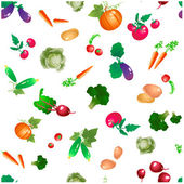 Vegetables and roots vector pattern, trimmed at the edges — Stock Vector