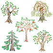 Different kinds of trees — Stock Vector