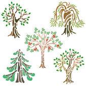 Olika typer av träd — Stockvektor
