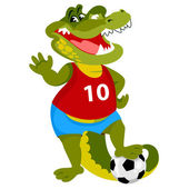 Crocodile is a soccer player — Stock Vector