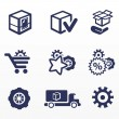 Packaging and buy icons, car parts  — Stok Vektör