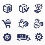 imballaggio e comprare icone, parti di auto — Vettoriale Stock