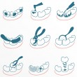 Dental icons set for clinic — Stock Vector