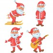 Santa in different actions cartoon set — Stock Vector