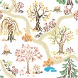 Hand-drawn autumn nature pattern — Imagen vectorial