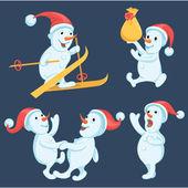 Snowmen in different actions cartoon set — Stock Vector