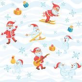 Seamless Christmas pattern with Santa, snowman and snowflakes — Stock Vector
