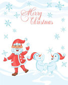 Christmas cartoon card with dancing Santa and dancing snowmen — Stock Vector