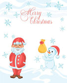 Christmas cartoon card with shy Santa and snowman with a gift — Stock Vector