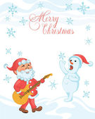 Christmas cartoon card with playing the guitar Santa and singing snowman — Stock Vector