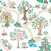 手描きの夏のパターンの性質 — ストックベクタ
