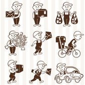 Courier with boxes and vehicles mono coloring icons set — Stock Vector