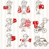 Courier with boxes and vehicles two coloring line icons set — Stock Vector