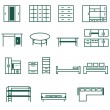 Furniture for home and office icon se — Stockvektor