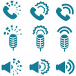 Types of sound from devices icon set — Stock Vector