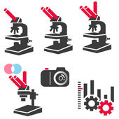 Microscope and optical equipment icon set — Stock Vector