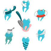 Dental problems and treatment icon set — Stock Vector
