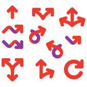 Arrows and signs movement direction icon set — Stock Vector