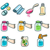 Medicines and pharmaceutical products icon set — Stok Vektör