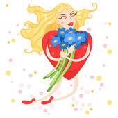 Corazón de mujer vuela con flores en sus manos — Vector de stock