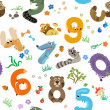 Numbers like European Forest Animals seamless pattern — Stok Vektör