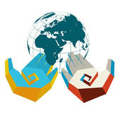 Concept of hands in colors of two opposing countries with globe — Stock Vector