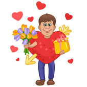 Man in a heart suit with flowers and gift in hands — Stock Vector