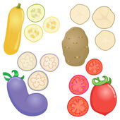 Vegetables whole and sliced into pieces — Stock Vector