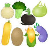 Various whole vegetables in cartoon style — Stock Vector