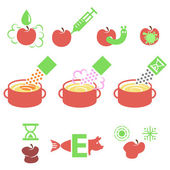 Causes of contamination and spoilage of food as flat icons — Stock Vector